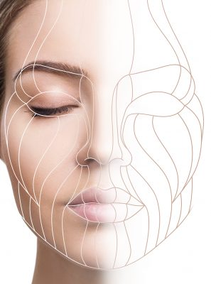 Graphic lines showing facial lifting effect on skin of young woman. Isolated on white.